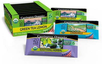 Carrington Co. LLC Revolutionizes The Hot Tea Market With First-ever, Organic Tea In Eco-Friendly Packaging
