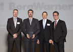 Mario Felker, Application Engineering Manager, BorgWarner Turbo Systems (left); Maic Kröll, Sales Manager, BorgWarner Turbo Systems (center left) and Dr. Martin Fischer, Vice President and General Manager Europe, BorgWarner Turbo Systems (center right) receive the Volvo Cars of Excellence Award from Lars Wrebo, Senior Vice President Purchasing & Manufacturing, Volvo Cars (right) during a ceremony held recently at Volvo Cars in Gothenburg (Sweden). (Photo courtesy of: VOLVO CAR CORPORATION)