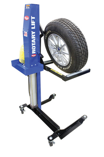 Reduce the risk of employee injury and increase productivity with the new Rotary Lift MW-200 Mobile Wheel Lift. The air-operated MW-200 provides 200 lbs. of lifting capacity at 100 psi, enough to lift a broad range of wheels and tires. The MW-200 has a rise time of just six seconds, fast enough to satisfy even a time-pressed quick-service technician. It rolls on four high-quality casters for easy maneuverability and features single-lever controls for quick operation. Wheels can be rotated 360 degrees on the MW-200's large rollers, so ...