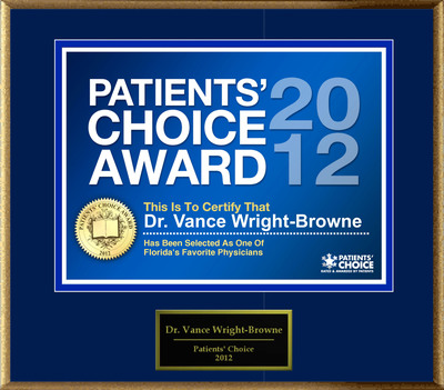 Dr. Wright-Browne Of Port Charlotte, FL Has Been Named A Patients' Choice Award Winner For 2012.  (PRNewsFoto/American Registry)