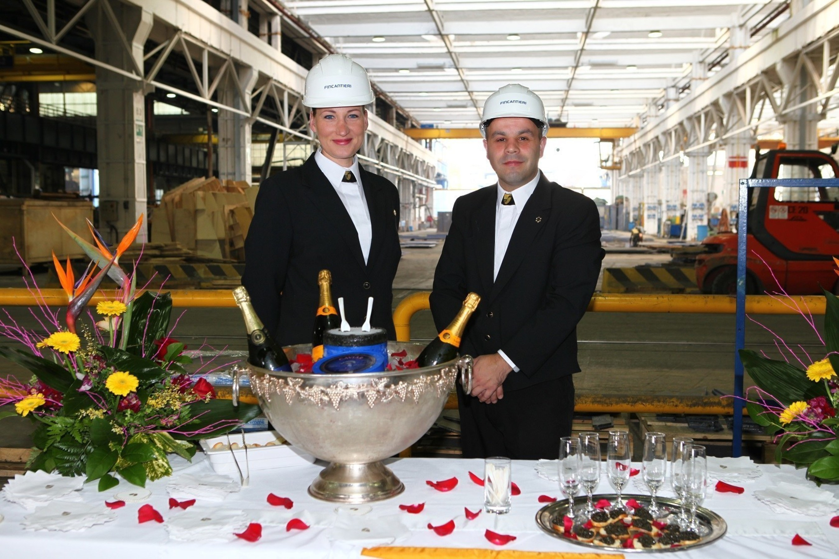 In a special nod to the line's departing original fleet, joining the Seabourn Encore steel cutting ceremony today were Egita Rasuma and Sergio Monteiro, two crew members from Seabourn Legend, the last of the three original Seabourn ships currently on its final voyage under the Seabourn banner. Their presence signified the closing of a chapter in the line's history, while marking the start of a new era with the beginning of the construction of Seabourn Encore.