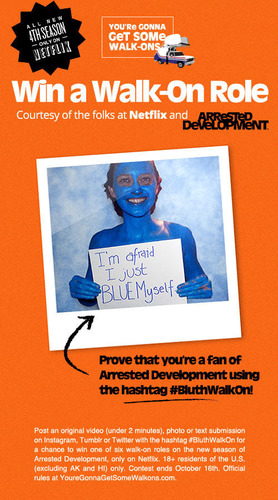 Win a walk-on role courtesy of Netflix and Arrested Development.  (PRNewsFoto/Netflix, Inc.)