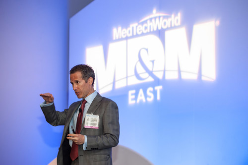Scott Bruder, Chief Medical and Scientific Officer of Stryker Corporation, giving the keynote speech at the ...