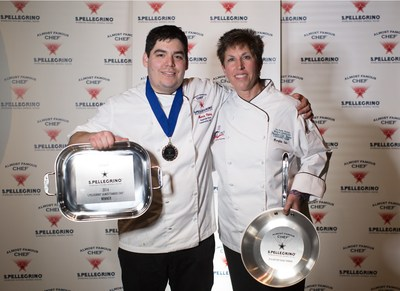 Culinary student Marcio Florez of Nashville State Community College claims the title of 2016 S.Pellegrino Almost Famous Chef alongside mentor Chef Marylou Tate in Napa, Calif. on Sunday, March 13, 2016. (Photo: Luke Snyder)