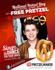 Join Damian McGinty at Pretzelmaker on April 26th to celebrate National Pretzel Day by getting a free pretzel when you sing or dance for your snack, or just simply say National Pretzel Day. Hit television star McGinty is the official spokesperson for Pretzelmaker on National Pretzelday.  (PRNewsFoto/Pretzelmaker)