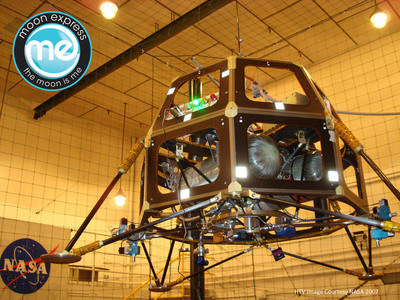 Moon Express Lunar Lander Test Vehicle.  (PRNewsFoto/Moon Express, 2007 HTV image courtesy of NASA)