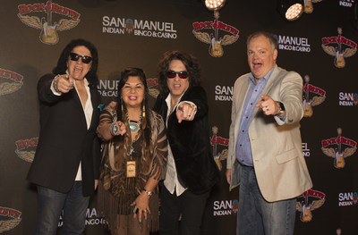 Gene Simmons and Paul Stanley of KISS, with San Manuel Indian Bingo & Casino General Manager Loren Gill, and San Manuel Tribal Business Committee Chairwoman, Lynn Valbuena at San Manuel Indian Bingo & Casino.
