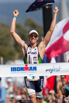 Pete Jacobs of Australia wins the 2012 IRONMAN World Championship in Kailua-Kona, Hawaii (PRNewsFoto/IRONMAN)