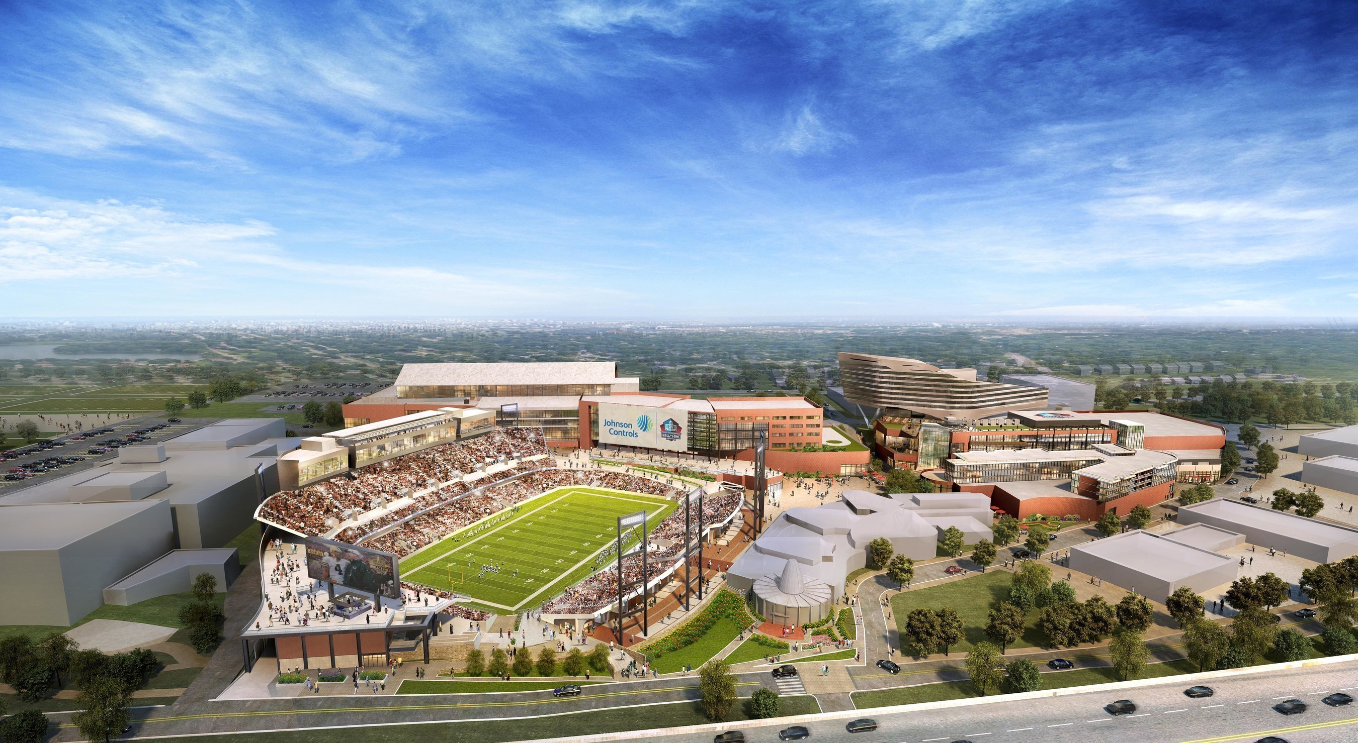 """Johnson Controls and Hall of Fame Village LLC (a partnership between the Pro Football Hall of Fame and Industrial Realty Group) have entered into a historic 18-year agreement to create the first sports and entertainment """"smart city"""" that will carry the name Johnson Controls Hall of Fame Village."""