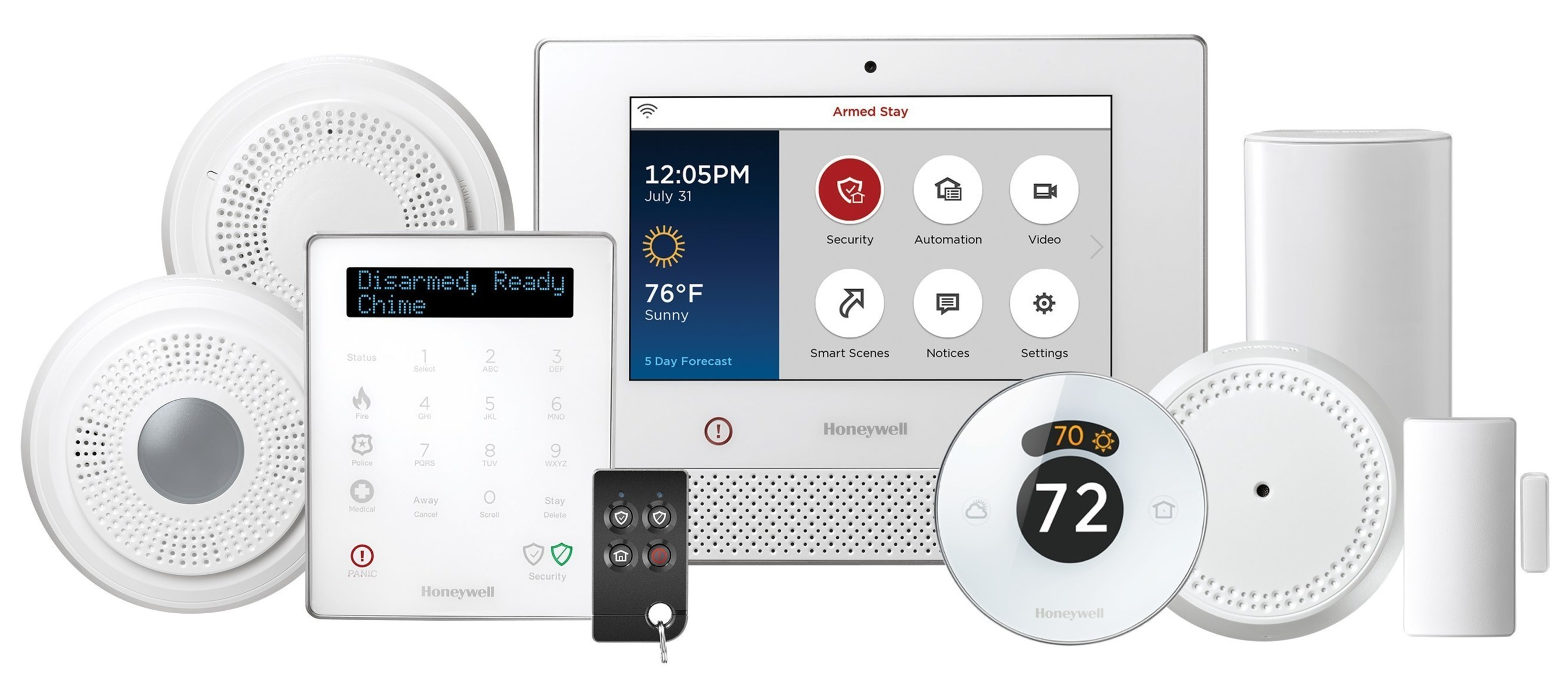 The new Honeywell Lyric Home Security and Control System, with the Honeywell Lyric Round Wi-Fi Thermostat.