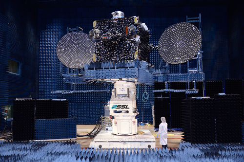 Optus 10 is shown here in the antenna test facility at SSL before it was shipped to launch base. (PRNewsFoto/MacDonald, Dettwiler and Assoc.)
