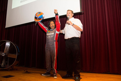 Kim Moore, Assistant Principal for Magnet Curriculum at Middleton High School, and John Doonan (right), Director, Mazda Motorsports