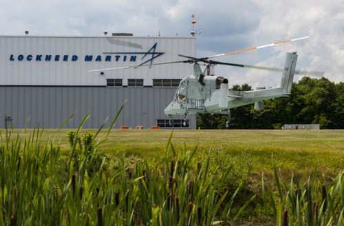 The K-MAX unmanned cargo helicopter returned to Lockheed Martin's facility in Owego, New York, after nearly three years serving the U.S. Marine Corps in Afghanistan. (PRNewsFoto/Lockheed Martin)