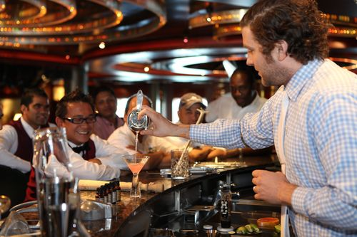 Bartenders enjoying the first DIAGEO RESERVE WORLD CLASS training session aboard the 'Caribbean.' ...
