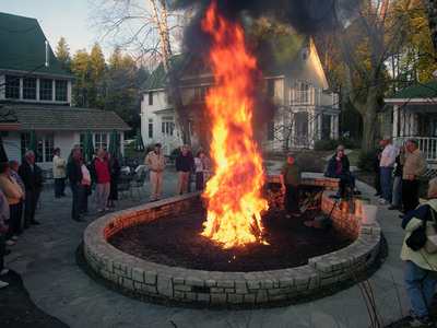 A Door County Fish Boil, served at several local restaurants, combines locally caught fresh whitefish steaks, potatoes and other ingredients in a pot and is cooked over an open fire. The cooking process culminates in a fiery boilover, shown here, and signals that dinner is ready. Served with drawn butter, coleslaw and other sides, this popular meal ends with a piece of fresh baked Door County cherry pie for dessert! Door County Visitor Bureau/DoorCounty.com photo.