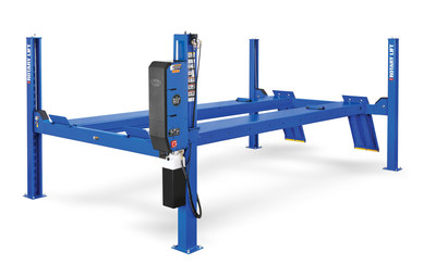 Rotary Lift has upgraded its SM series 14,000 lb. capacity four-post lifts by increasing rise height, improving drive-on ramps and finishing everything off with a durable powder-coated hammer-tone paint finish. (PRNewsFoto/Rotary Lift)