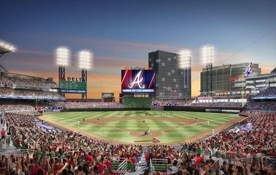 A rendering of SunTrust Park, the 2017 home of the Atlanta Braves.