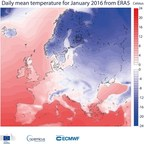 Daily mean surface air temperature for January 2016 from ERA5 (PRNewsFoto/ECMWF)