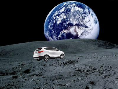 Manipulated image: HYUNDAI TUCSON FUEL CELL DRIVERS FROM SOUTHERN CALIFORNIA ACCUMULATE SUFFICIENT MILEAGE TO REACH THE MOON EMISSIONS-FREE