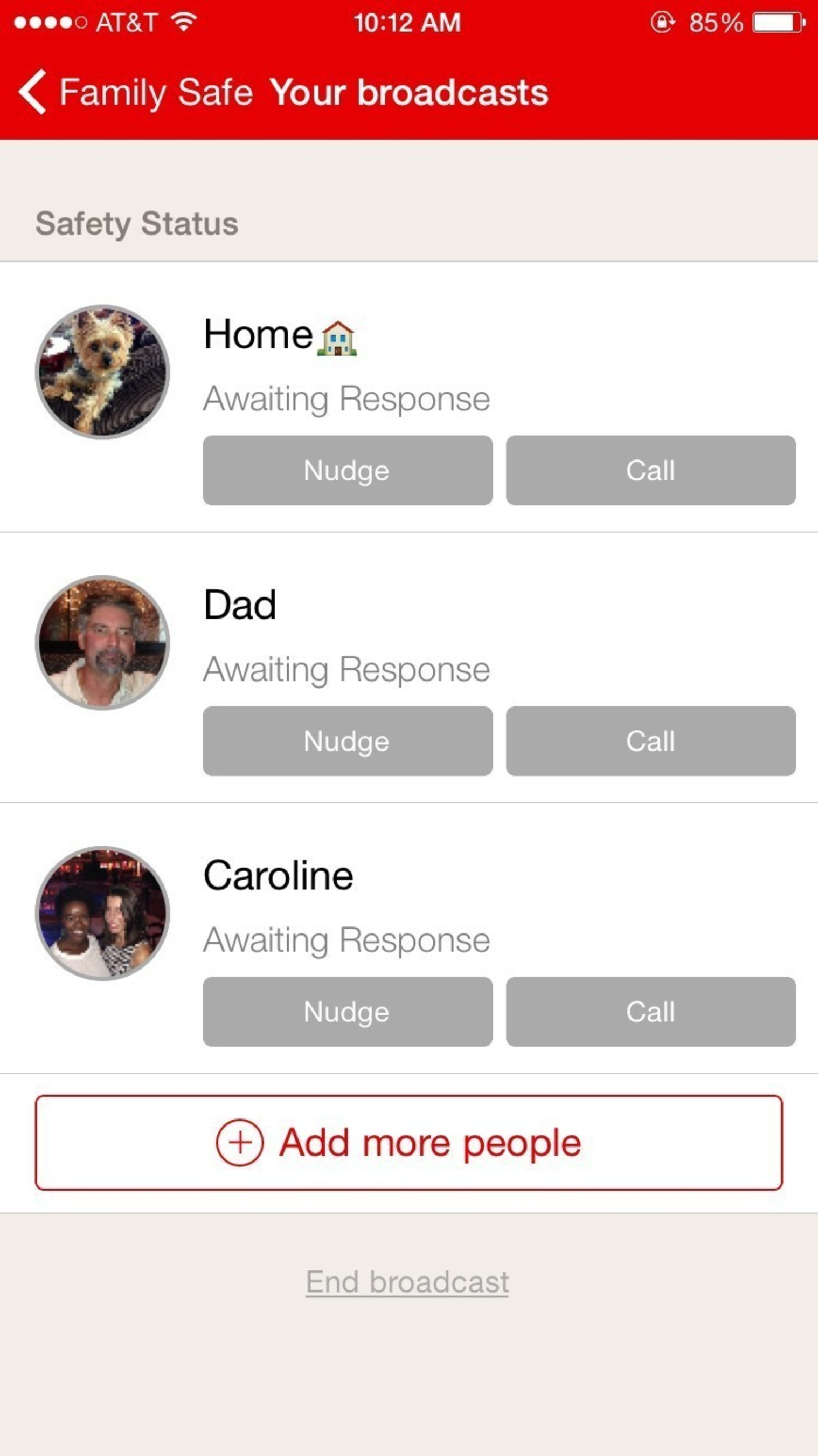 """The """"Family Safe"""" feature on the Red Cross Emergency App allows users to to check on loved ones who are in an area affected by an emergency and instantly see if they are okay - even if that loved one hasn't downloaded the Emergency App on their device."""