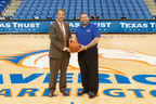 UT Arlington Athletics Director Jim Baker (left) and Jim Minge, president of Texas Trust Credit Union.  (PRNewsFoto/The University of Texas at Arlington)