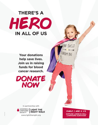Kaeli, age 5, diffuse large B-cell lymphoma survivor.