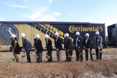 State and local government officials join Continental leaders in Clinton, Mississippi for a groundbreaking ceremony for the company's new truck tire plant. Pictured from left to right: Representative Deborah Dixon, Speaker Philip Gunn, Lt. Governor Tate Reeves, Continental Executive Board Member Nikolai Setzer, Governor Phil Bryant, Congressman Bennie Thompson, President Hinds County Board Darrel McQuirter, Executive Director, MDA Glenn McCullough, Jr. and Continental Executive Vice President Paul Williams.