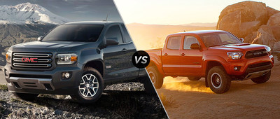 Palmen Buick GMC Cadillac of Kenosha, Wisconsin compares the new 2015 GMC Canyon to the 2015 Toyota Tacoma. (PRNewsFoto/Palmen Buick GMC Cadillac)