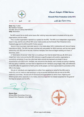 Official NPU document about the NPU's excellent relationship with Sons of Liberty International