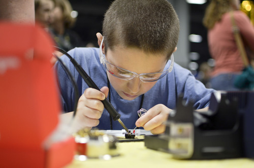 Introducing children of all ages to DIY electronics at the USA Science & Engineering Festival.  ...
