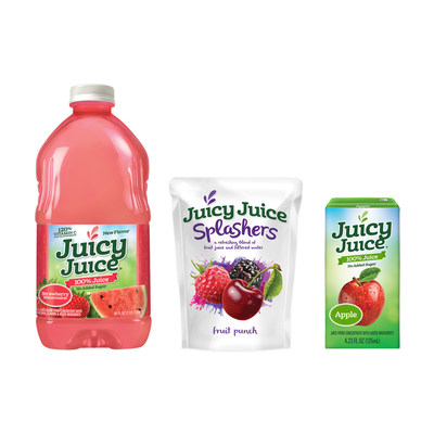 Featuring a fresh, new look, Juicy Juice adds four new flavors to its core line of 100% juices and an all-new pouch with Juicy Juice Splashers