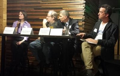 From left to right: Jane Levesque, Jason Pettigrew, Steve Gleydura, and Doug Trattner discuss the editor-freelancer relationship at a Press Club of Cleveland event (PRNewsFoto/PR Newswire Association LLC)