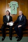 (Left) Peter Lawwell, Chief Executive of Celtic Football Club, and Tom McCusker, Managing Director of Magners, (right) in the changing room at Celtic Park.