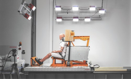 Sled system with M=Light LEDs and Data Acquisition at Takata Brazil. (PRNewsFoto/MESSRING Systembau GmbH) ...