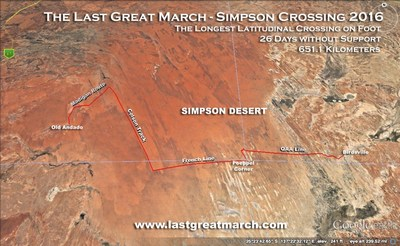 THE PATH TAKEN BY COPELAND AND GEORGE OF AUSTRALIA'S SIMPSON DESERT IN ITS WEST/EAST AXIS CROSSES WELL OVER 900 DUNES
