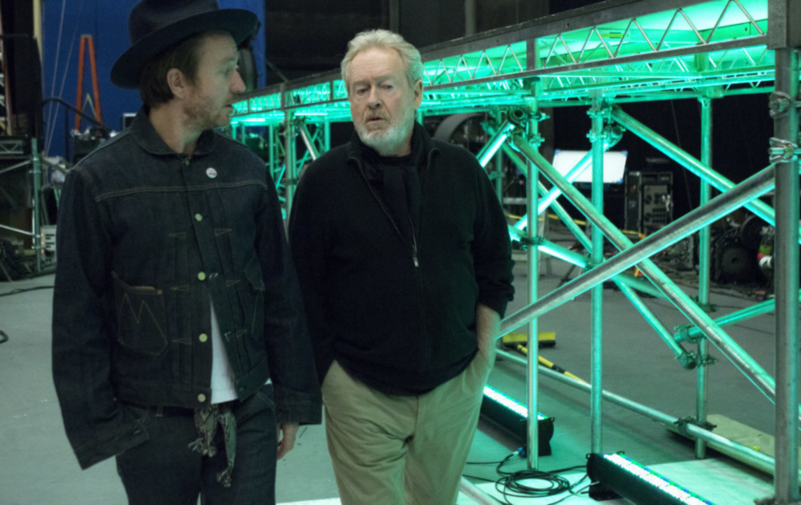Jake and Ridley Scott on set of LG's first-ever LG Super Bowl commercial.