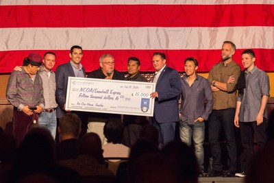 Combined Insurance presented a check for $15,000 to the NCOA at their Comedy Night Salute to the Troops to support Snowball Express, an organization that helps children of fallen military heroes. Pictured (l-r): Comedian Paul Rodriguez; Jody Fuller, GIs of Comedy; John Capra, Combined Insurance; Clifford Davis, NCOA; Desh Lachman and Joseph Pennington, Combined Insurance; Thom Tran, Tom Irwin, and Jose Sarduy, GIs of Comedy. Photo credit: Kristen Buccini.