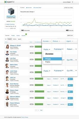 Private Profiles screenshot (PRNewsFoto/ExpertFile)