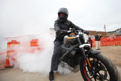 Carey Hart, motocross superstar, does a burnout at the groundbreaking for The Harley-Davidson Rally Point, on Wednesday, March 25, 2015 in Sturgis, SD. Hart is the 2015 Grand Marshall of the Mayor's Ride during the 75th Sturgis Motorcycle Rally. (Toby Brusseau/AP Images for Harley-Davidson)
