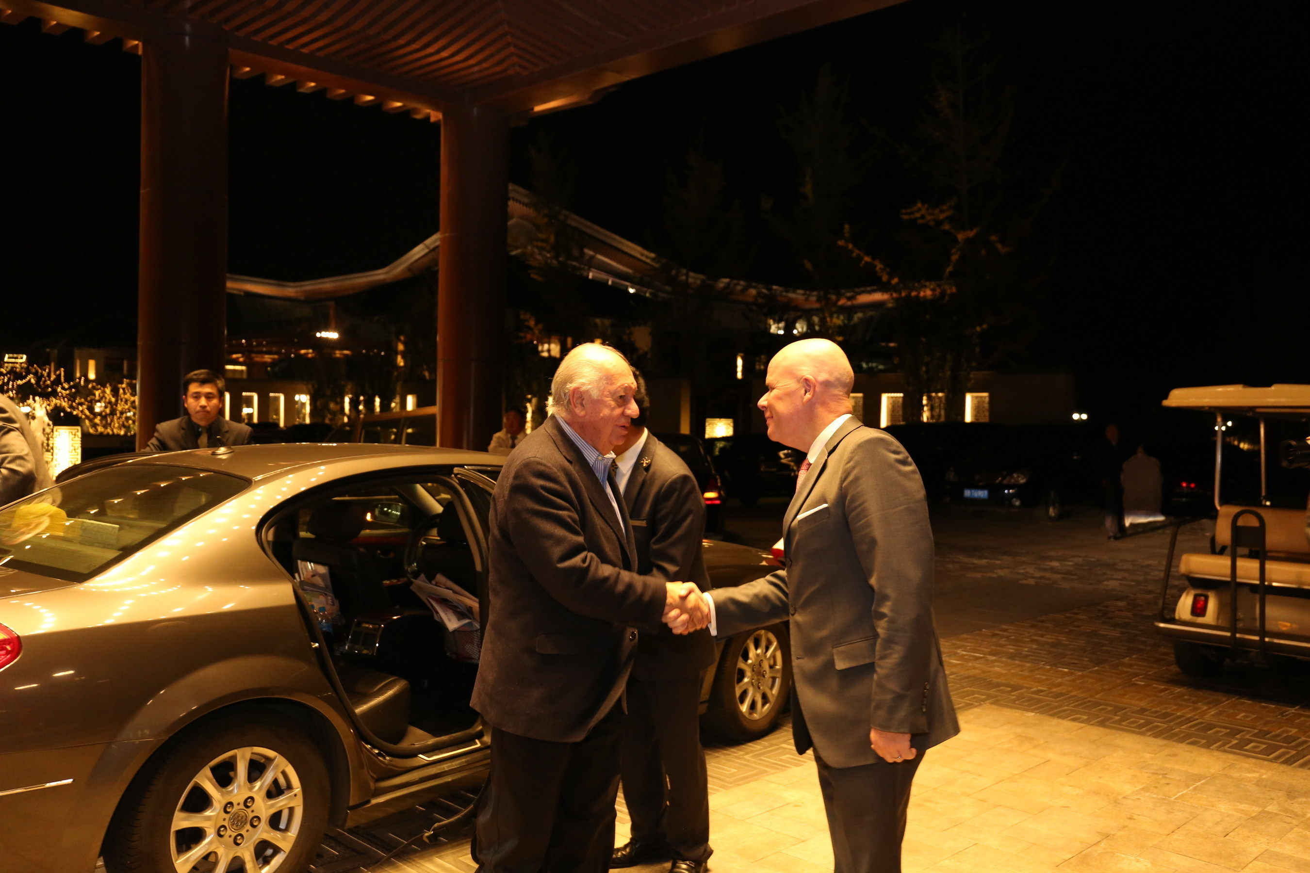 Former President of Chile Ricardo Lagos welcomed by Brice Pean, GM of Sunrise Kempinski Hotel, Beijing & Yanqi Island