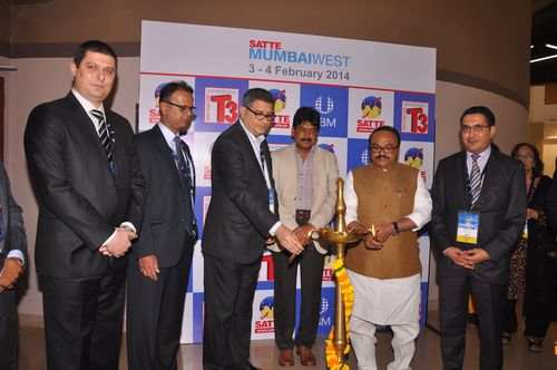 Chhagan Bhujbal, Minister for Public Works & Special Assistance Department and Tourism, Government of Maharashtra along with other dignitaries lighting the ceremonial lamp at the SATTE MumbaiWest 2014 inauguration. (PRNewsFoto/SATTE 2014 and UBM India Pvt Ltd)