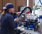 Shop Mechanic Ray Fitting plumbs the Lynx LOX pump for a test.  (PRNewsFoto/XCOR Aerospace)