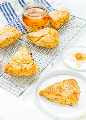 If you want a delicious sweet and savory baked treat for snack, these Honey Bacon-Cheddar scones fill the bill.  Courtesy: National Honey Board