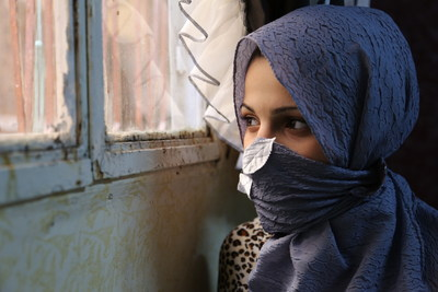 Maha* is a 13-year-old Syrian refugee. She was forced to marry her 23-year-old husband when she was 12 due to financial difficulties and fear of sexual assault. She is now one month pregnant. Due to her young age, her pregnancy is very weak. She hasn't been in school since she was 10 years old (* after a name indicates that the name has been changed to protect identity. This must be reflected in all usage). Photo by Rosie Thompson/Save the Children. (PRNewsFoto/Save the Children)