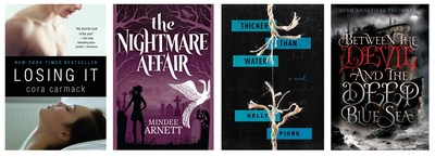 LOSING IT by Cora Carmack; THE NIGHTMARE AFFAIR by Mindee Arnett; THICKER THAN WATER by Kelly Fiore; and BETWEEN THE DEVIL AND THE DEEP BLUE SEA by April Genevieve Tucholke