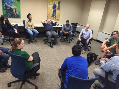 A group of injured service members participate in Life Stories workshop.