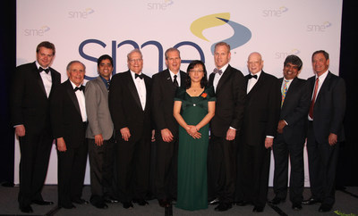 SME's International Awards gala occurred May 15 and honored manufacturing professionals for their accomplishments and contributions to the industry. From left to right: Emmanual De Moor, Serope Kalpakjian, Srinkanth Pilla, Peter Mackie, Brian Ruestow, Jian Cao, Patrick Shanahan, George Hazelrigg, Placid Ferreira and Joseph Beaman.