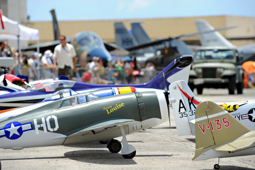 Remote control planes and full size aircraft steal the spotlight at the Biggest Little Airshow In Hawaii on Ford Island in Pearl Harbor. (PRNewsFoto/Pacific Aviation Museum Pearl...)