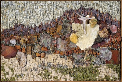Fire, a mosaic in minerals and stone by Carol Talkov