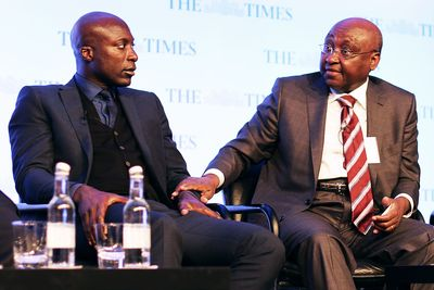 Made in Africa Foundation co-founder Ozwald Boateng OBE (L) and President of African Development Bank Donald Kaberuka (C)